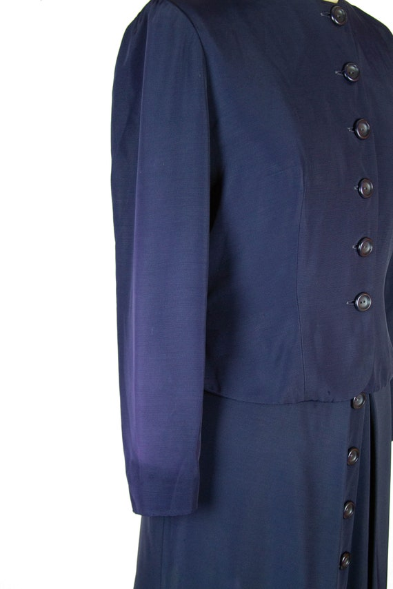 1940s Suit ~ Navy Faille Tailored Suit with Butto… - image 7