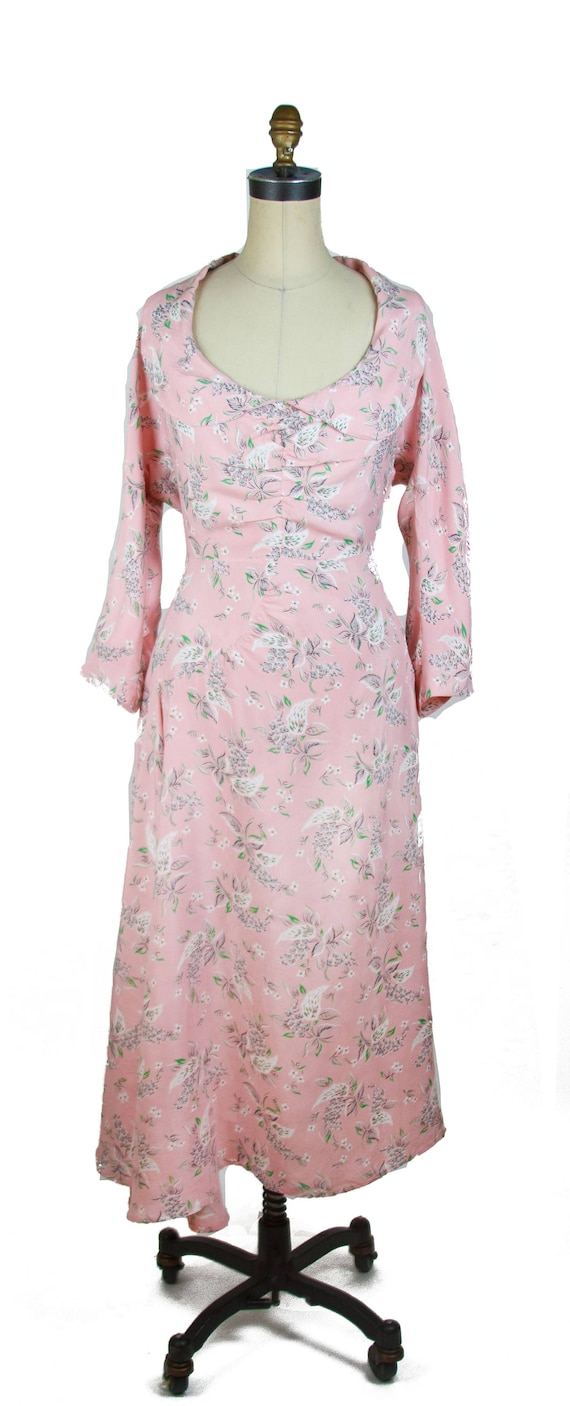 Vintage 1940s Dress ~ Pink Floral Cold Rayon Ruch… - image 4