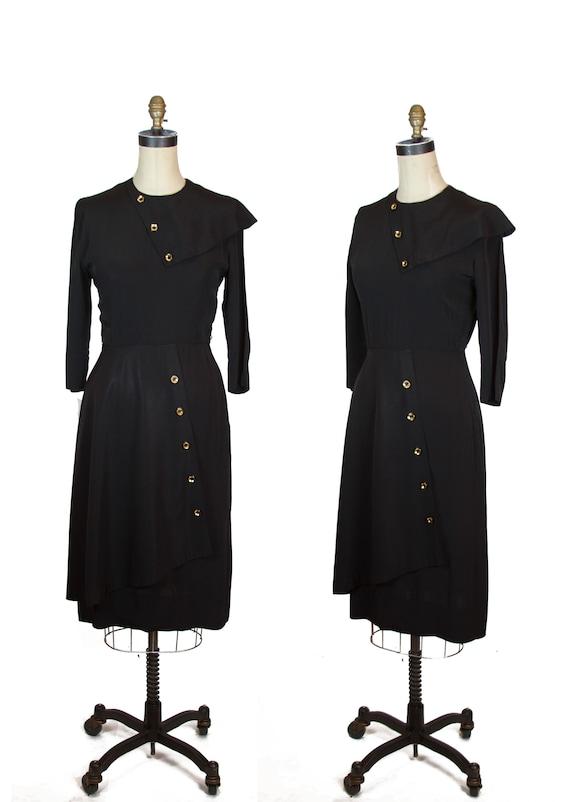 1940s Dress ~ Black Rayon Asymmetrical Button Dres