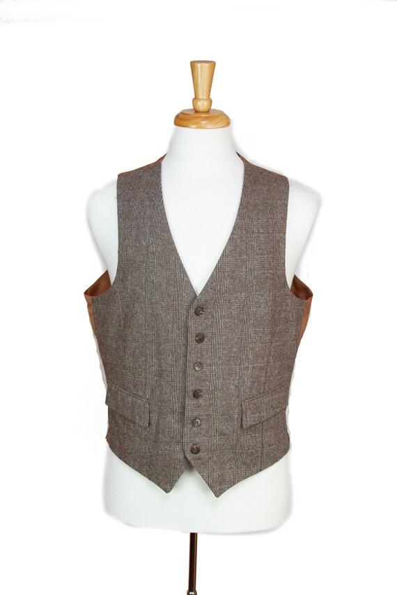 1940s 1950s Vest ~ Brown Plaid Two Pocket Vest