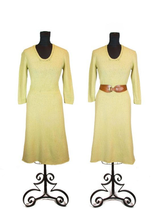 1940s Knit Dress ~ Chartreuse Toned Yellow Knit Sw