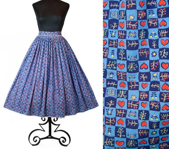 1950s Skirt ~ Heart Novelty Print Blue Cotton Full