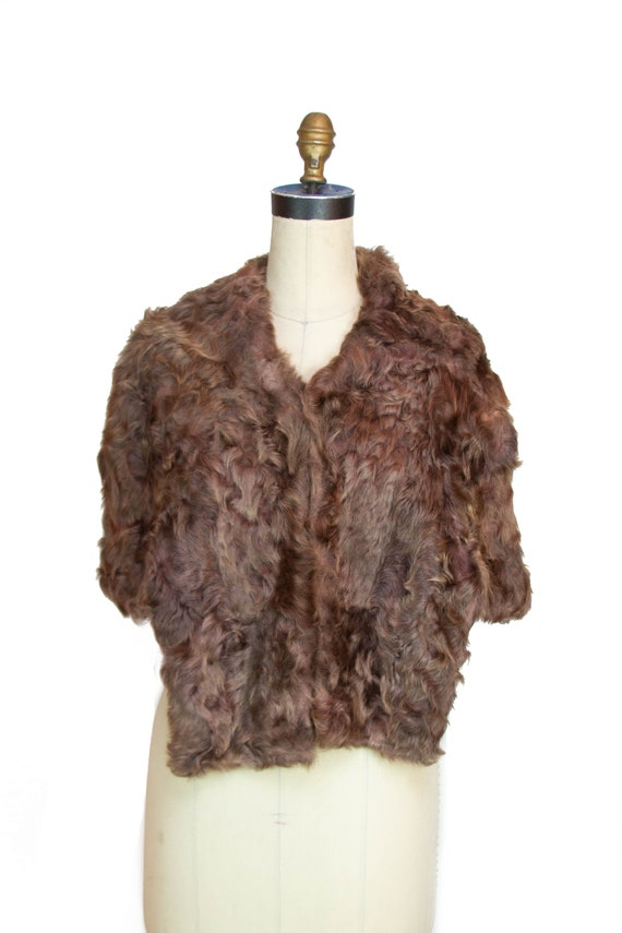 1940s Fur Stole ~ Warm Brown Curly Lamb Fur Stole
