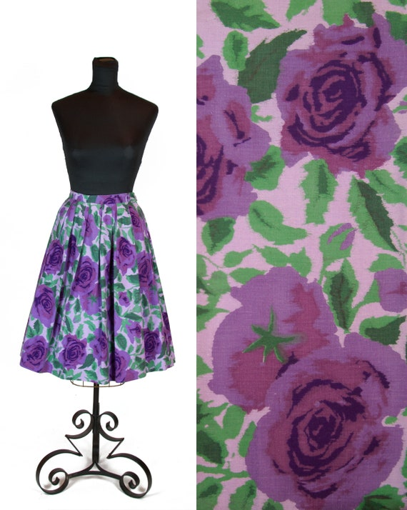 1950s Skirt ~ Purple Rose Cotton Pleated Skirt
