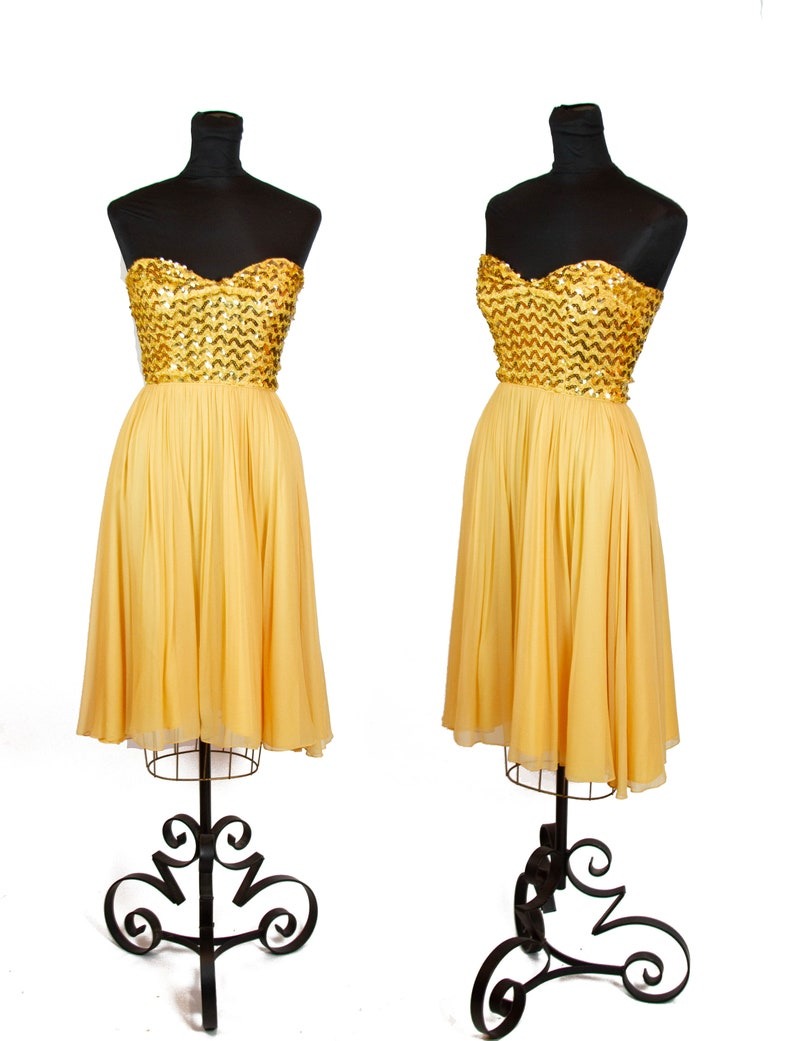 Vintage 1950s Dress ~ Strapless Gold Sequin Chiffon Cocktail Dance Dress