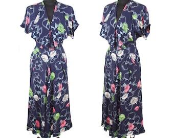 1940s Dress // Leaf Novelty Print Rayon Navy Blue Dress with Shawl Collar