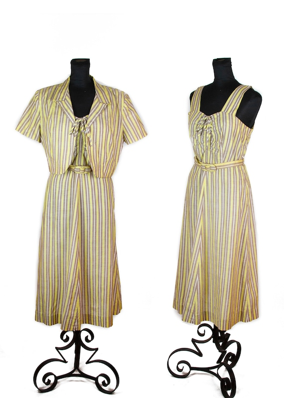 1940s Dress ~ Chartreuse and Taupe Striped Cotton