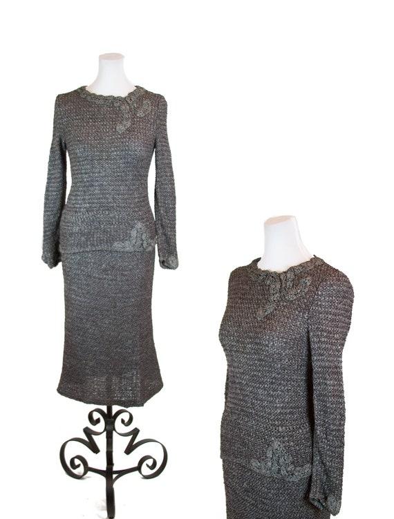 Vintage 1950s Dress ~ Grey Ribbon Knit Dress Skirt