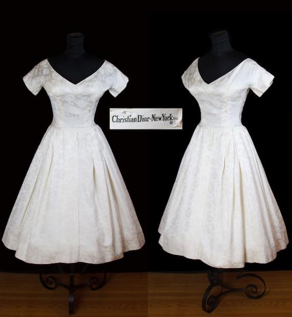 a35d484eec Vintage Christian Dior 1950's Wedding Dress Designer Silk | Etsy
