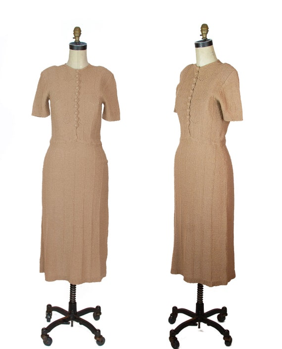 1940s Dress ~ Beige Snyder Knits Sweater Dress
