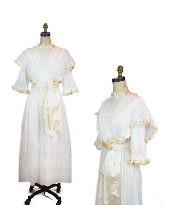 Antique Edwardian Dress ~ White Cotton Lawn Silk R
