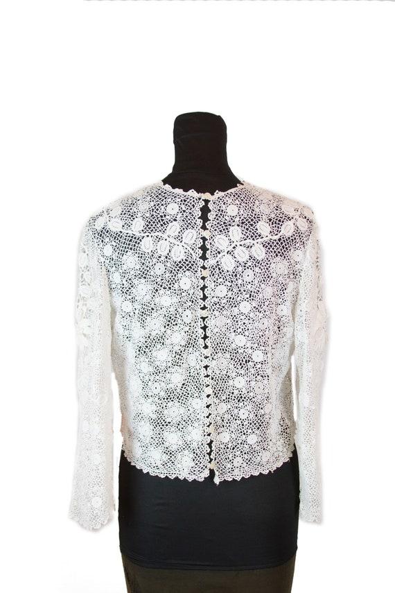 Victorian Antique Blouse ~ White Irish Crochet Top - image 5