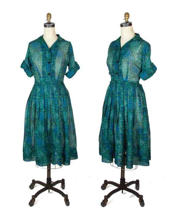1950s Dress ~ Lightweight Green and Blue Shirtwais