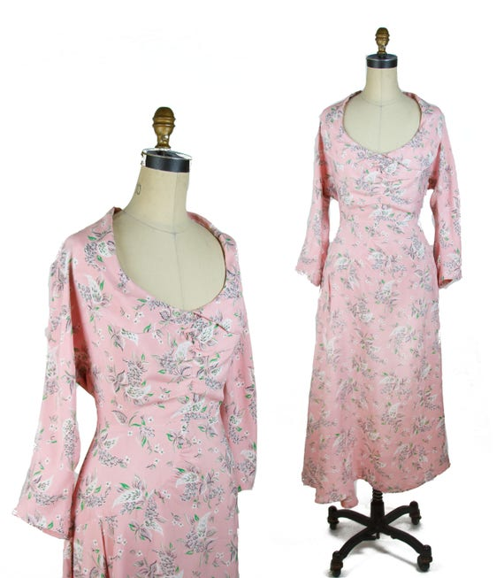 Vintage 1940s Dress ~ Pink Floral Cold Rayon Ruche
