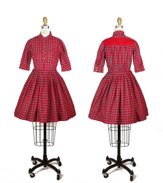 1950s Dress ~ Red Plaid Cotton Full Skirt Dress wi