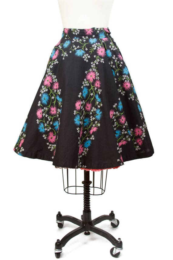1950s Circle Skirt // Pink and Blue Floral on Blac