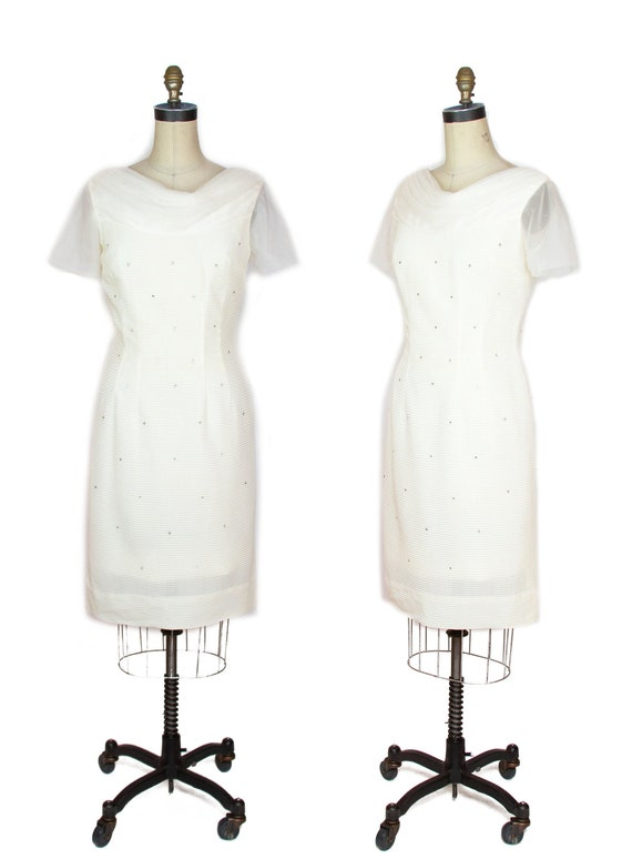 1950s Dress ~ Rhinestone Studded White Nylon Wiggl