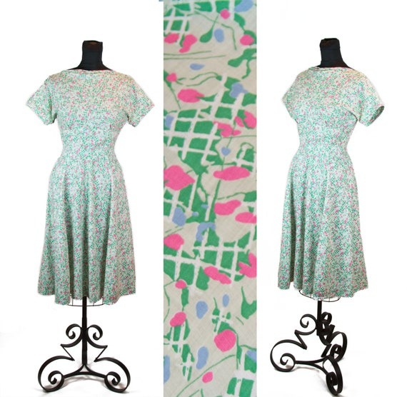 Vintage 1940s Dress ~ 1950s Dress ~ Abstract Green