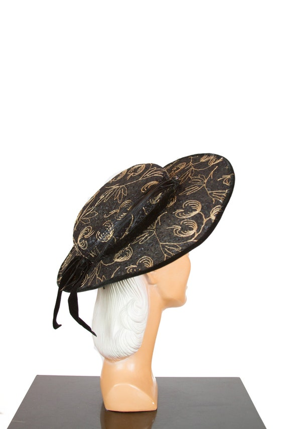 1950s Hat ~ Gold Embroidered Tulle Cellophane Stra