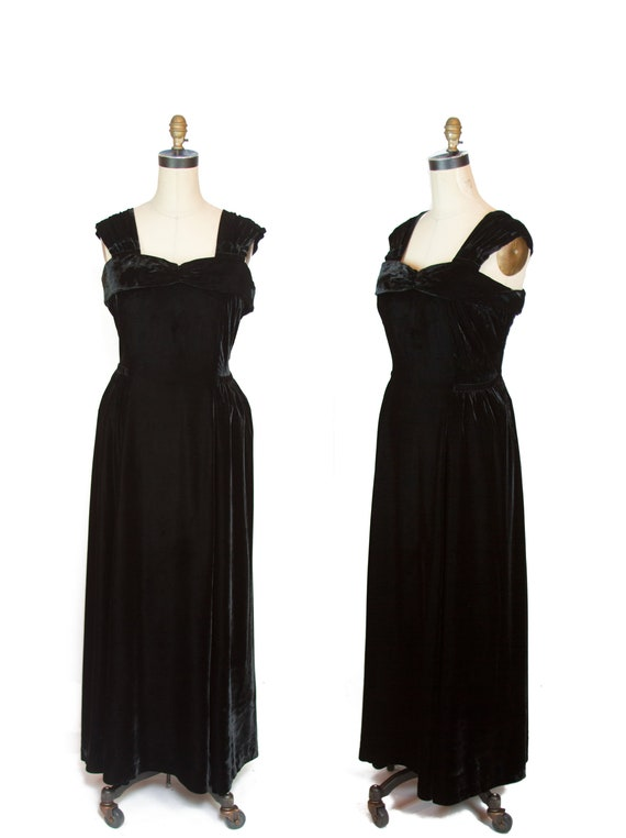 Vintage 1930s Dress ~ Black Velvet Evening Gown