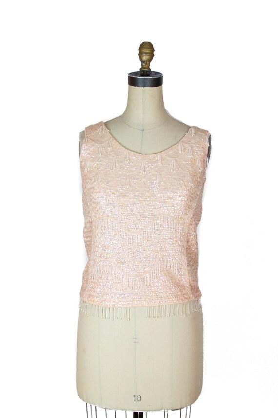 1950s Top ~ Pink Beaded Sequin Sweater Top