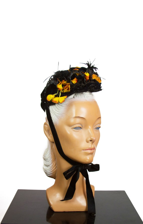 Victorian Bonnet Hat ~ Black and Mustard Yellow Be