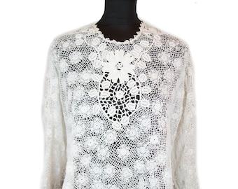 Victorian Blouse ~ White Irish Crochet Top
