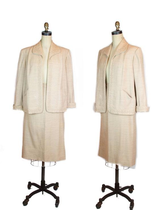 1950s Suit ~ Oatmeal Trapunto Boxy Skirt Suit Set