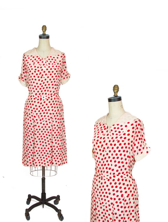 1920s Dress ~ Red Polka Dot Silk Pleated Skirt Fla