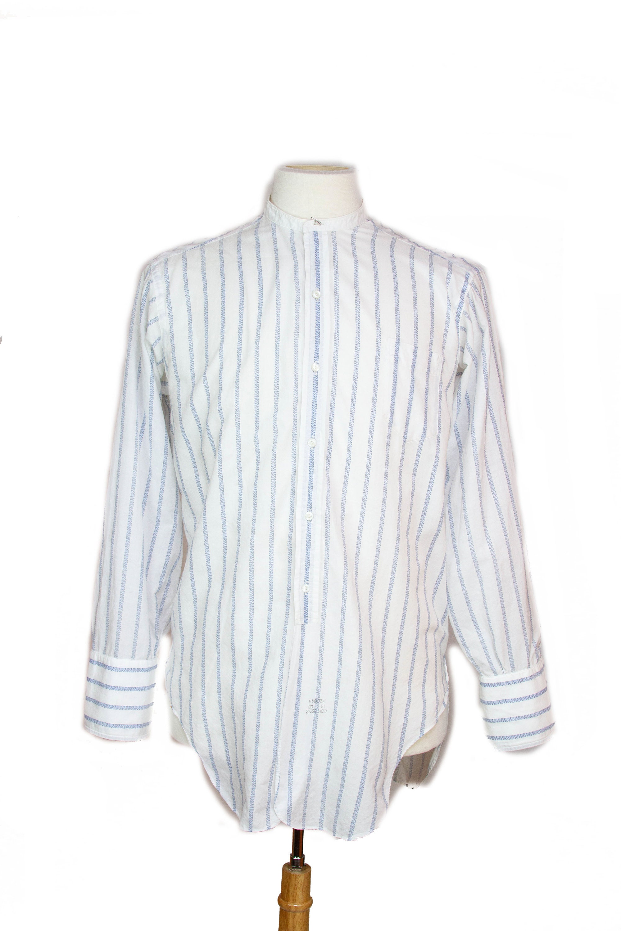 Men's 1920s Style Ties, Neck Ties & Bowties 1920S Mens Shirt  White With Blue Stripe Cotton Collarless Button Down $23.75 AT vintagedancer.com