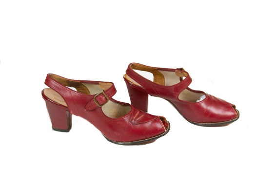 1940s Shoes ~ Red Peep Toe Sling Back Red Cross Sh