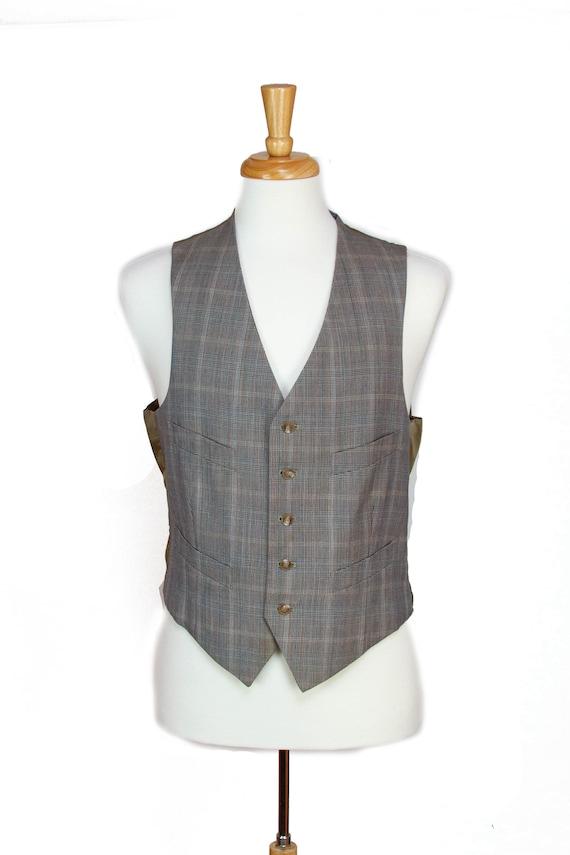 1940s 1950s Vest ~ Grey Plaid Four Pocket Mens Ves