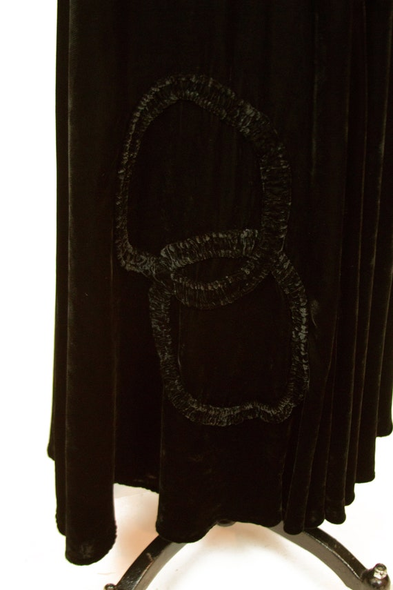 Vintage 1930s Dress ~ Black Velvet Evening Gown w… - image 6
