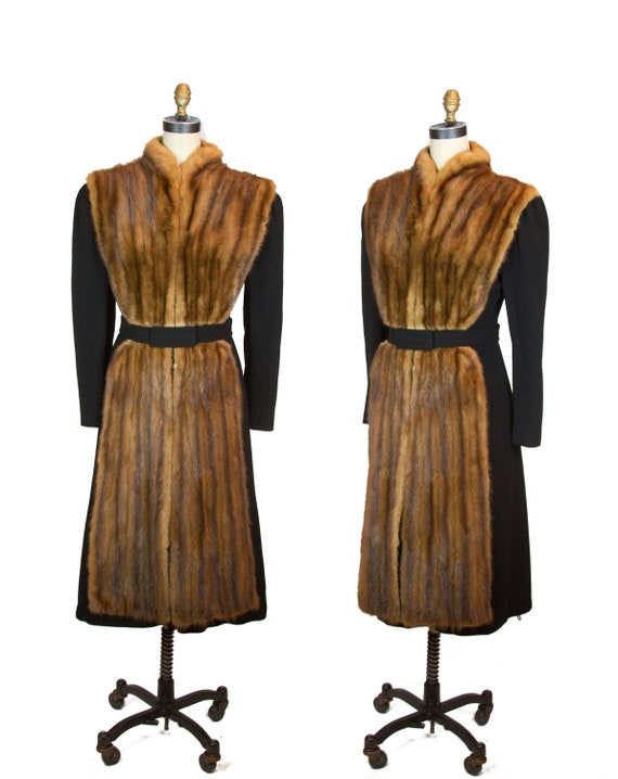 1930s Coat ~ Fur Trimmed Black Wool Princess Coat