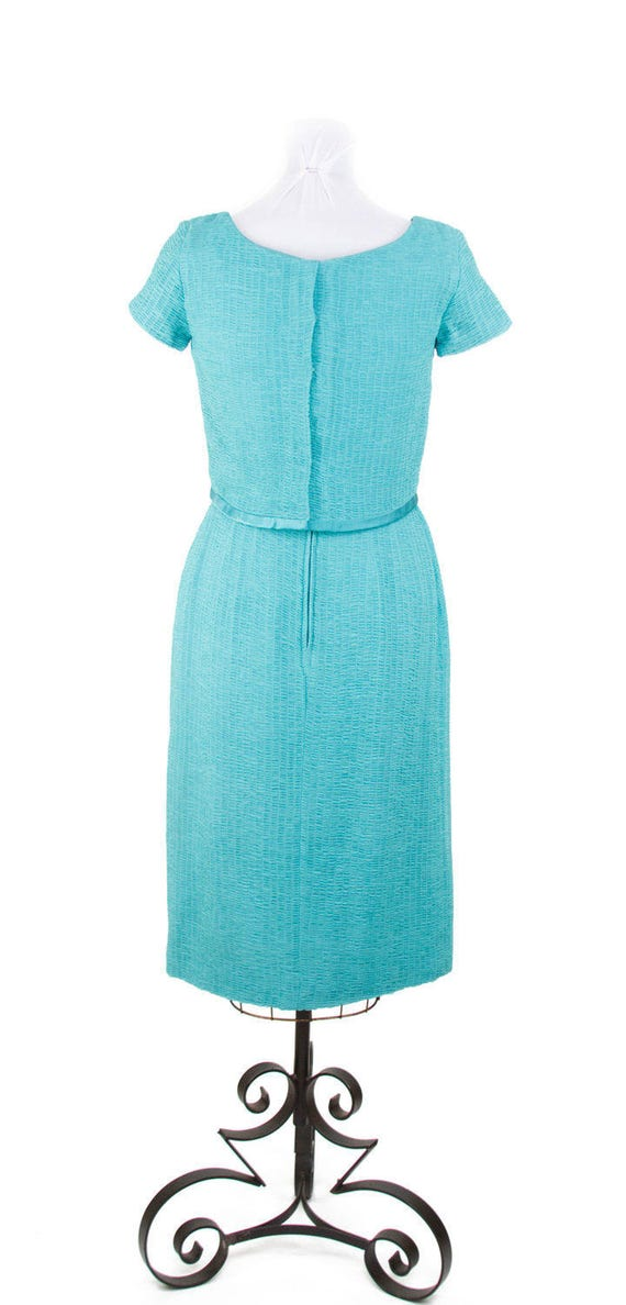 1950s Dress // Ruched Turquoise Chiffon Wiggle Dr… - image 5