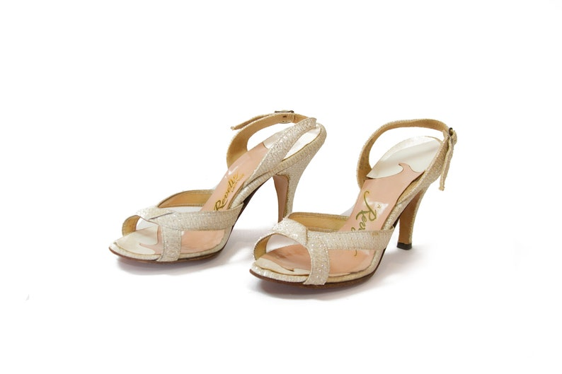 1af4aecbd2064 1950s Shoes ~ Silver Lurex Clear Plastic Peep Toe Sling Back High Heels