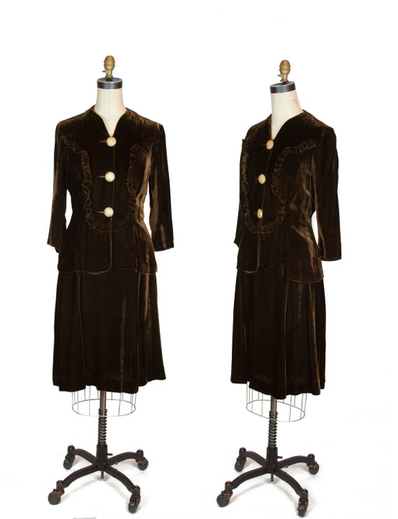 1940s Dress Set ~ Chocolate Brown Velvet Ruffle Bo
