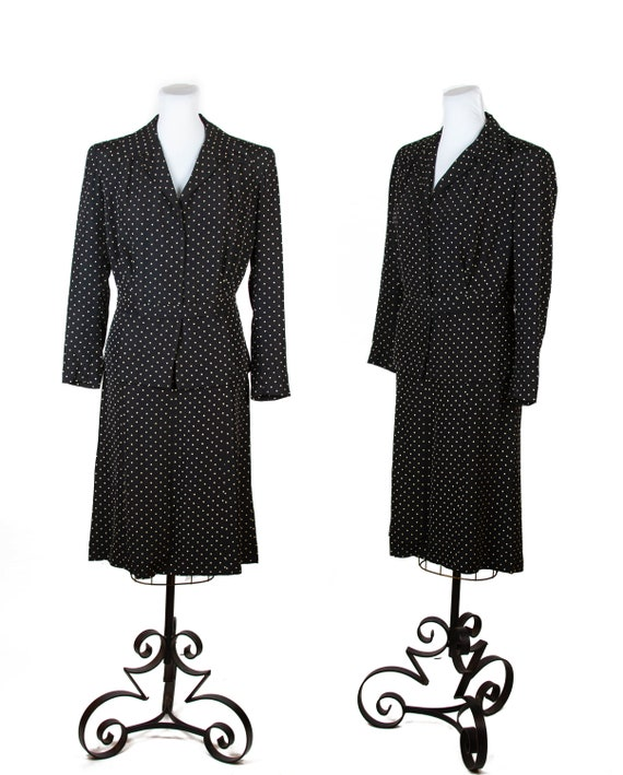 1940s Suit ~ Black and White Polka Dot Ladies Fail