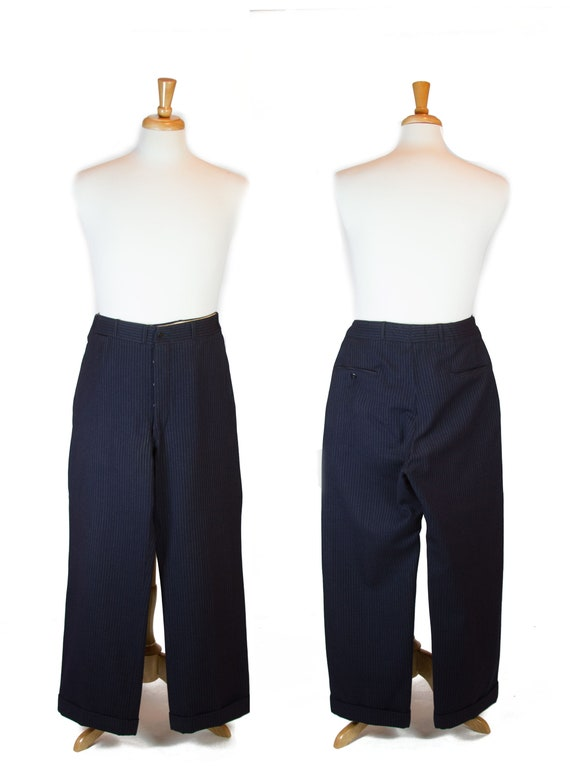 1930s Mens Pants ~ Navy Button Front Pinstripe Sla