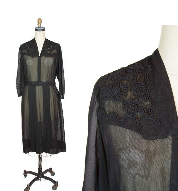 1940s Dress ~ Black Sheer Rayon Soutache Trim and