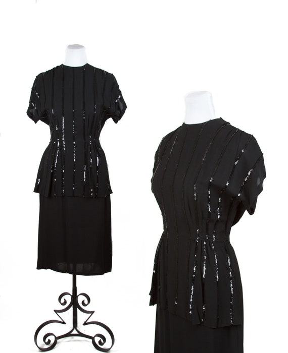 Vintage 1940s Dress ~ Black Striped Sequin Peplum