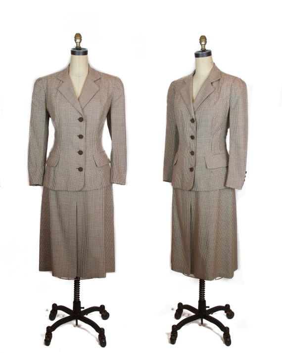1940s Suit ~ Brown and Ivory Houndstooth Jacket Sk