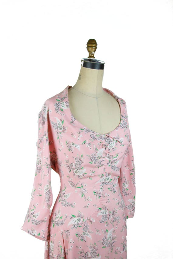 Vintage 1940s Dress ~ Pink Floral Cold Rayon Ruch… - image 3