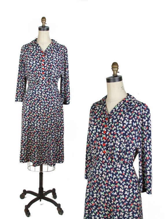 Vintage 1940s Dress ~ Butterfly Novelty Print Cold