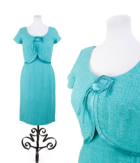 1950s Dress // Ruched Turquoise Chiffon Wiggle Dr… - image 1