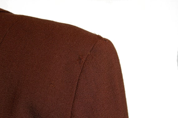 1940s Suit ~ Brown Wool Scallop Collar Tailored S… - image 7