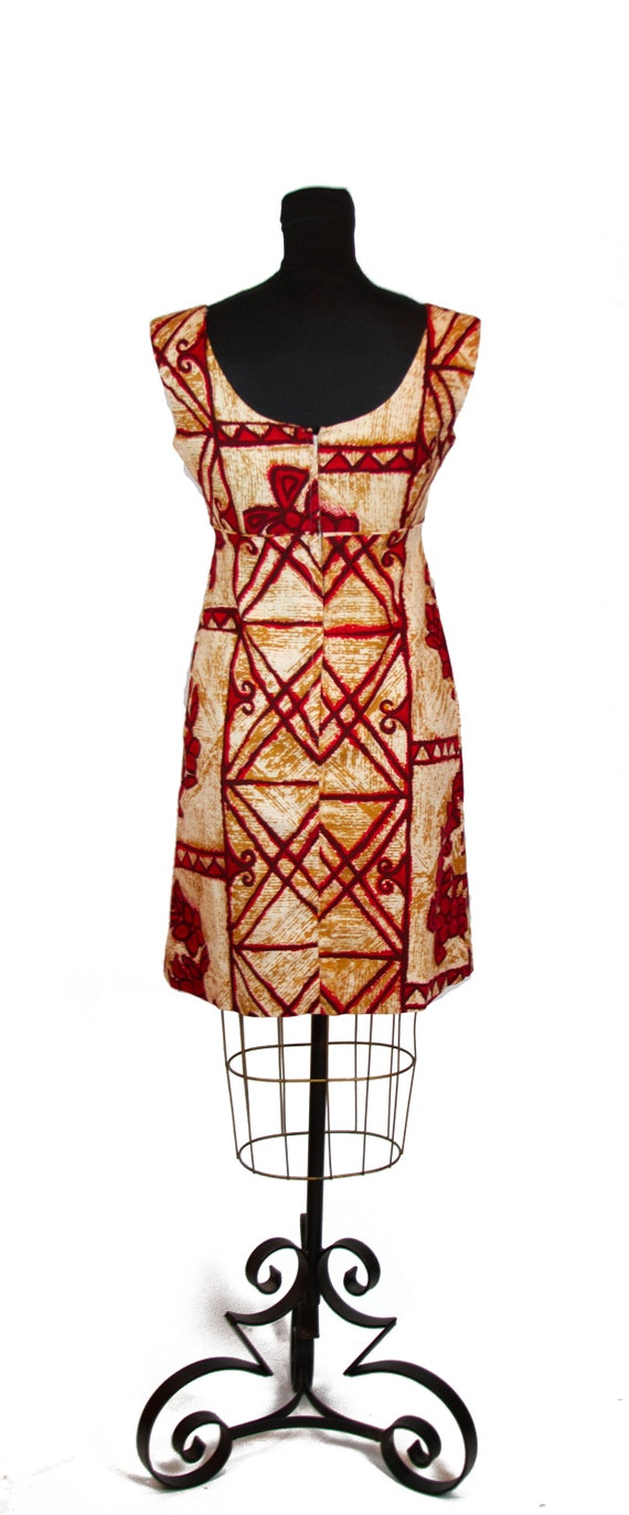 Vintage 1960s Dress ~ Hawaiian Tiki Retro Barkclo… - image 5