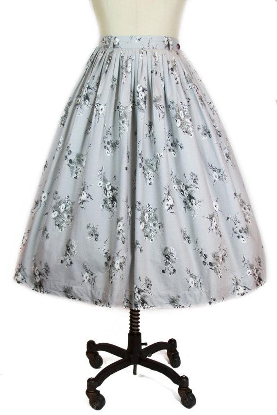 1950s Full Skirt ~ Morning Glory Flowers on Grey C