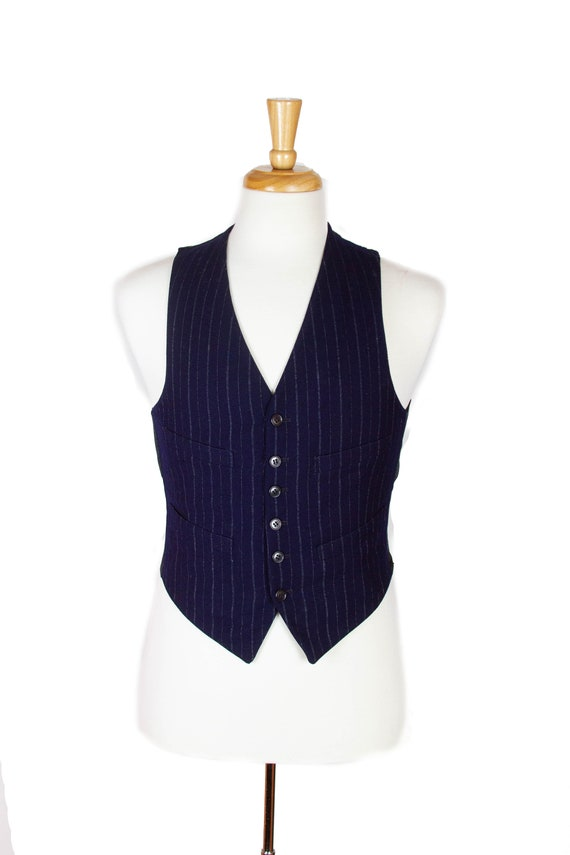 1930s 1940s Vest ~ Blue Wool Four Pocket Mens Vest