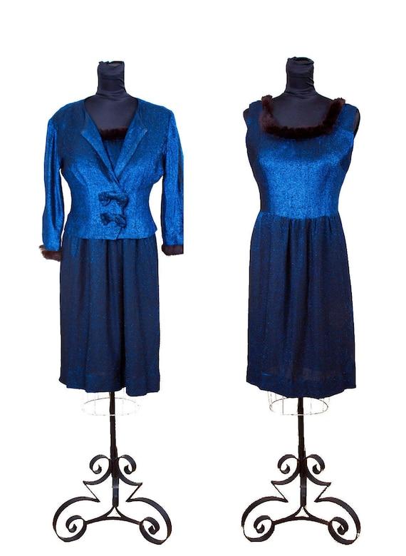 1950s Dress ~ Fur Trimmed Blue Lurex Sexy Cocktail
